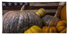 Folk Art Flag And Pumpkins Bath Towel