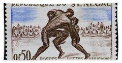 Folk Wrestling Vintage Postage Stamp Print Bath Towel by Andy Prendy