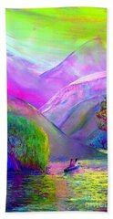 Hand Towel featuring the painting  Love Is Following The Flow Together by Jane Small
