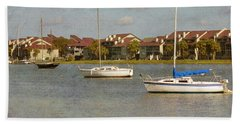 Folly Beach Boats Hand Towel