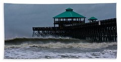 Folly Beach Pier During Sandy Hand Towel
