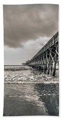 Bath Towel featuring the photograph Folly Beach Pier by Sennie Pierson