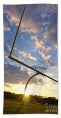 Football Goal At Sunset Hand Towel