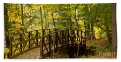 Footbridge At Letchworth Hand Towel