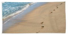Footprints In The Sand Bath Towel
