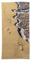 Footprints On Beach Hand Towel