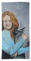 Bath Towel featuring the painting For The Love Of Bunny by Jeanne Fischer