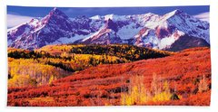 Forest In Autumn With Snow Covered Bath Towel