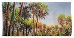 Hand Towel featuring the painting Forest Of Palms by Lou Ann Bagnall