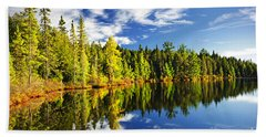 Forest Reflecting In Lake Hand Towel