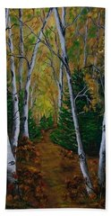Birch Tree Forest Trail  Hand Towel