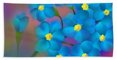 Forget- Me -not Flowers Hand Towel by Latha Gokuldas Panicker