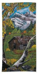 Hand Towel featuring the painting Forgotten Cabin  by Sharon Duguay