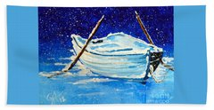 Hand Towel featuring the painting Forgotten Rowboat by Jackie Carpenter