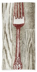 Fork And Spoon On Wood I Hand Towel