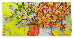 Forsythia And Cherry Blossoms Spring Flowers Hand Towel