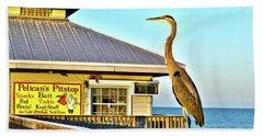 Fort Myers Beach Bird On Pier Bath Towel