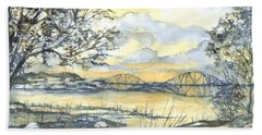 Forth Rail Bridge Edinburgh In Scotland Hand Towel