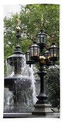 Fountain And Gaslight Lantern Bath Towel