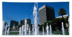 Fountain In A Park, Plaza De Cesar Hand Towel