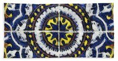 Four Painted Tiles-mexico Hand Towel by Michael Flood