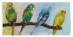 Four Parakeets Hand Towel