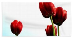 Four Red Tulips Bath Towel