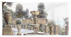four seasons-winter on lake Como Bath Towel