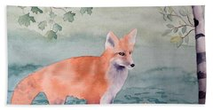 Fox And Birch Bath Towel by Laurel Best