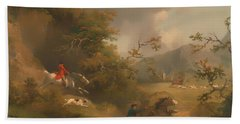 Fox Hunting In Hilly Country Bath Towel