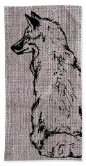 Fox On Burlap  Hand Towel