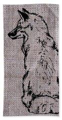 Fox On Burlap  Bath Towel