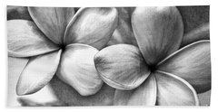 Bath Towel featuring the photograph Frangipani In Black And White by Peggy Hughes