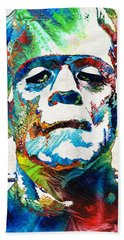 Frankenstein Art - Colorful Monster - By Sharon Cummings Hand Towel