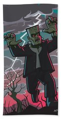 Bath Towel featuring the digital art Frankenstein Creature In Storm  by Martin Davey