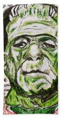 Hand Towel featuring the painting Frankenstein by Kathy Marrs Chandler