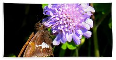 Hand Towel featuring the photograph Silver Spotted Skipper by Patti Whitten