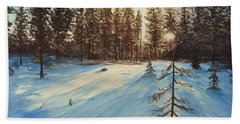 Bath Towel featuring the painting Freezing Forest by Martin Howard
