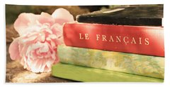 Bath Towel featuring the photograph French Books And Peony by Brooke T Ryan