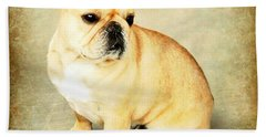 Hand Towel featuring the photograph French Bulldog Antique by Barbara Chichester