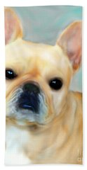 Hand Towel featuring the painting French Bulldog Mystique D'or by Barbara Chichester