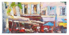French Cafe Avignon Palette Knife Oil Painting Hand Towel