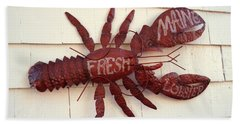Fresh Maine Lobster Sign Boothbay Harbor Maine Hand Towel