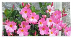 Fresh Pink Flowers Blossom Supporting The Tiled Wall Nature Natural Gardens   Bath Towel