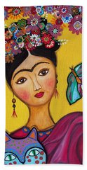 Hand Towel featuring the painting Frida Kahlo And Her Cat by Pristine Cartera Turkus