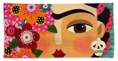 Frida Kahlo With Flowers And Skull Bath Towel