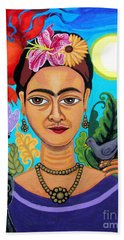 Frida Kahlo With Monkey And Bird Hand Towel