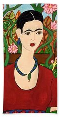Frida With Vines Bath Towel