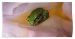 Frog And Rose Photo 2 Bath Towel by Cheryl Hoyle