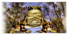 Hand Towel featuring the digital art Frog by Daniel Janda